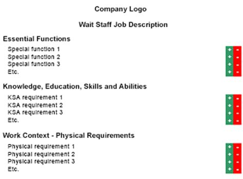 resume for wait staff position
